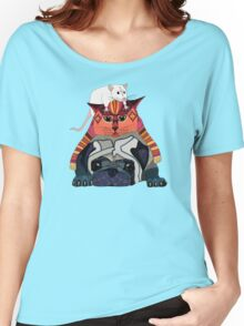 mouse cat pug teal Women's Relaxed Fit T-Shirt