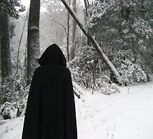 Hooded figure in the snow by Adele Nash