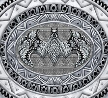 Bat God Black and white Aztec Pattern by Galih Sanjaya Kusuma wiwaha