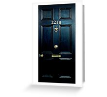 Haunted Blue Door with 221b number Greeting Card