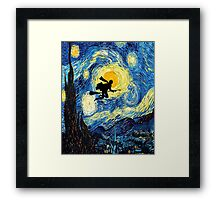 Halloween Flying Young Wizzard with broom Framed Print