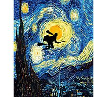 Halloween Flying Young Wizzard with broom Photographic Print