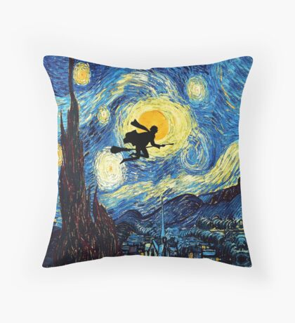 Halloween Flying Young Wizzard with broom Throw Pillow