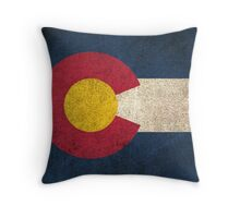 Old and Worn Distressed Vintage Flag of Colorado Throw Pillow