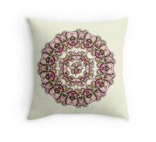 red flowers mandala kaleidoscope Throw Pillow