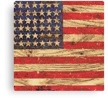 Vintage Patriotic American Flag on Old Wood Grain Canvas Print