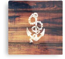 Vintage Nautical Anchor White on Brown Wood Grain Metal Print