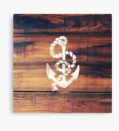 Vintage Nautical Anchor White on Brown Wood Grain Canvas Print