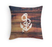 Vintage Nautical Anchor White on Brown Wood Grain Throw Pillow
