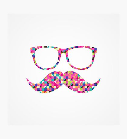 Funny Girly Pink Abstract Mustache Hipster Glasses Photographic Print
