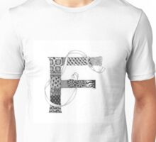 Zentangle®-Inspired Art - Tangled Alphabet - F Unisex T-Shirt