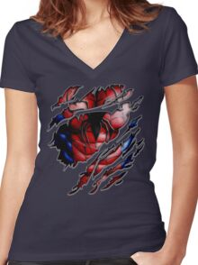 Peter torn tee tshirt pencils color art Women's Fitted V-Neck T-Shirt