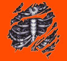 Steampunk terminator Cyborg robot body torn tee tshirt Kids Tee