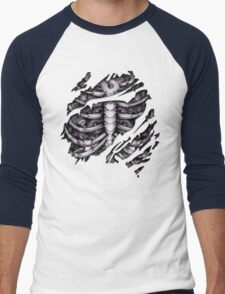Steampunk terminator Cyborg robot body torn tee tshirt Men's Baseball ¾ T-Shirt