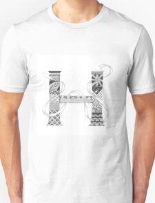 Zentangle®-Inspired Art - Tangled Alphabet - H T-Shirt