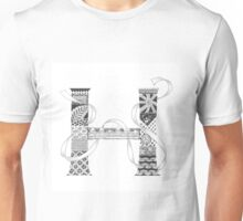 Zentangle®-Inspired Art - Tangled Alphabet - H Unisex T-Shirt