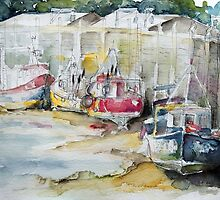 Fishing Boats Settled Aground During Ebb Tide by Barbara Pommerenke