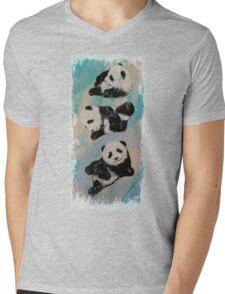 Panda Karate Mens V-Neck T-Shirt