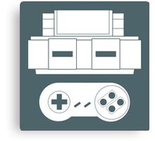 Let's Play SNES (White Canvas Print