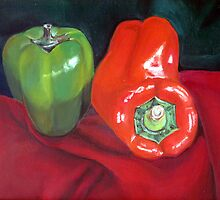 Green and Red Peppers by Jennifer Herrin