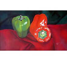 Green and Red Peppers Photographic Print