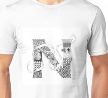 Zentangle®-Inspired Art - Tangled Alphabet - N Unisex T-Shirt