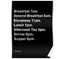 Hobbit Meal Times Poster