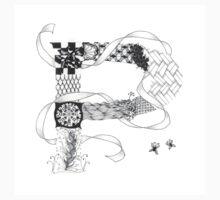 Zentangle®-Inspired Art - Tangled Alphabet - P One Piece - Short Sleeve