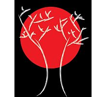 Red Moon with White Tree Photographic Print