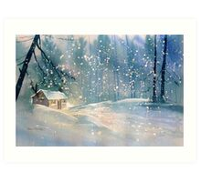 Cottage in the Snow Art Print