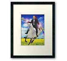 Obama unicorn win Framed Print