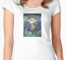 Mermaid pose in color Women's Fitted Scoop T-Shirt