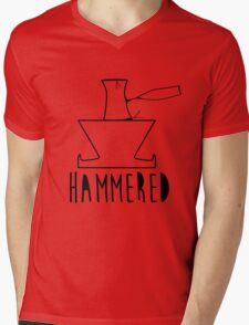 'HAMMERED' Simple but cool Grunge Rock Design Mens V-Neck T-Shirt