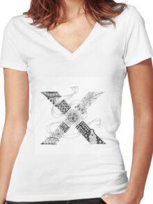 Zentangle®-Inspired Art - Tangled Alphabet - X Women's Fitted V-Neck T-Shirt