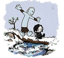 Calvin and Hobbes Beyond the Wall by BovaArt