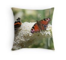 Butterfly Dancers ~ On White Buddliah ~ Throw Pillow