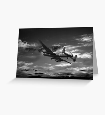 Lancaster Bomber On Night Raid Greeting Card
