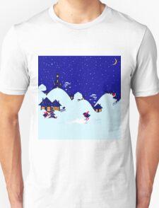 Wonderful winter landscape with bullfinch village T-Shirt