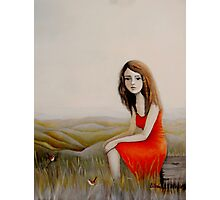 Girl in Scarlet Dress with High Country Background Photographic Print