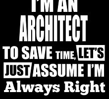 I'm An ARCHITECT To Save Time, Let's Just Assume I'm Always Right by fancytees