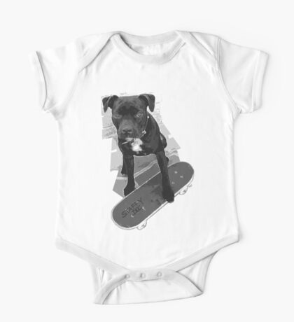 SK8 Staffy Dog black and white One Piece - Short Sleeve