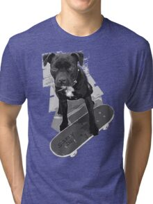 SK8 Staffy Dog black and white Tri-blend T-Shirt