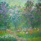 Blooming lilac garden by Julia Lesnichy