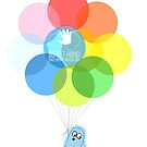 Big Blue & Rainbow Balloons by Joanne Byron
