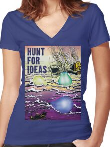 Hunt For Ideas T-Shirt Women's Fitted V-Neck T-Shirt