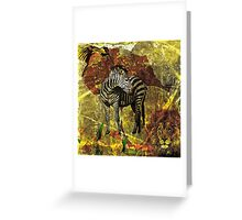 African Wildlife Lion and Zebra Greeting Card