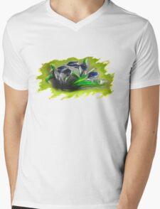 Acrylic Deep Blue Tulips  Mens V-Neck T-Shirt