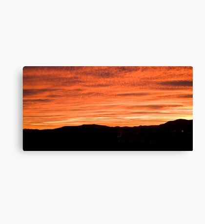 Sunset over suburb of Ljubljana Canvas Print