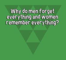 Why do men forget everything and women remember everything? T-Shirt