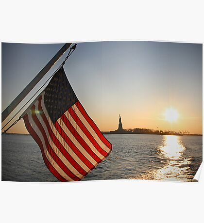 Sunset over Liberty Island Poster